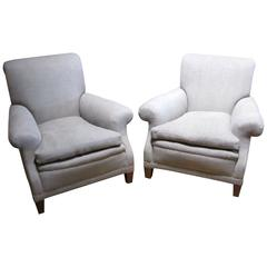 1920s Pair of Upholstered Club Chairs, England