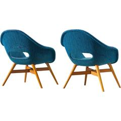Pair of Easy Chairs in Blue Upholstery