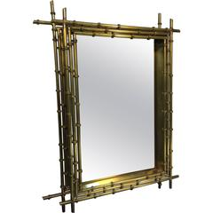 Fantastic Faux Bamboo Modernist Wall Mirror in Brass by Curtis Jere