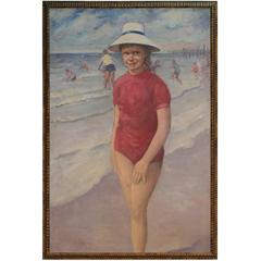 Vintage Russian Painting of Little Girl on the Beach