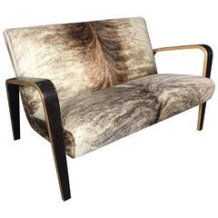 American Mid-Century Bentwood Settee, Cowhide Upholstery