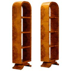 Pair of French Art Deco Arched Top Polished Wood Etageres