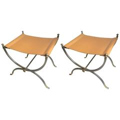 Maison Charles Pair of Bronze, Steel and Leather Folding Pure Pair of Stools