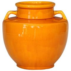 Awaji Pottery Japanese Art Deco Vase with Bright Yellow Monochrome Glaze