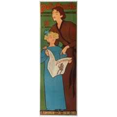 Antique French Polichinelle Poster by Realier-Dumas 1896, Narrow for Its Size