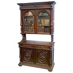 Tycoon's Carved Flemish Antique Buffet Bibliotheque, circa 1850 Provenance