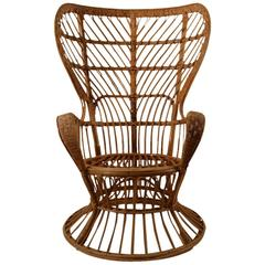 Fan Back Wicker Chair by Lio Carminati