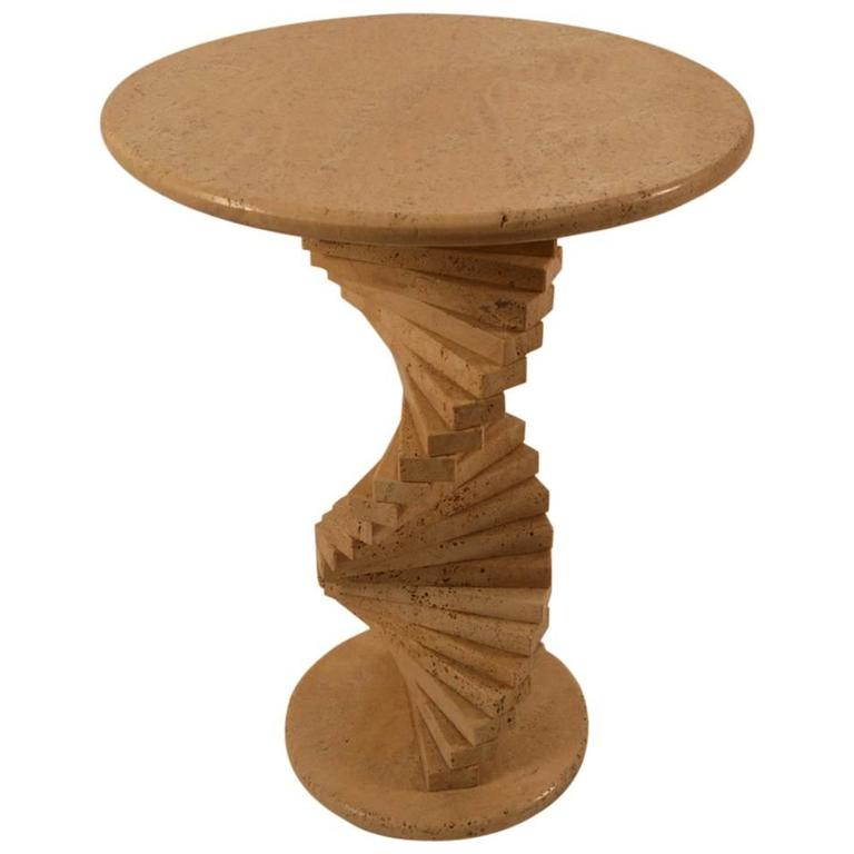 Travertine Marble Stacked Block Twist Base Side Table