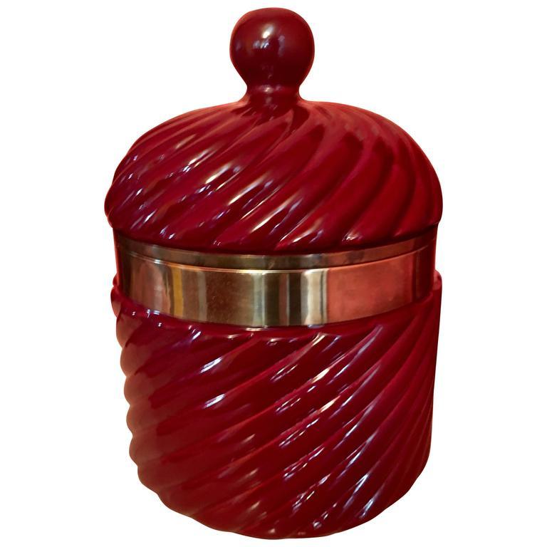 Tommaso Barbi Italian Ceramic Ice Bucket with Brass Detail