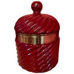 Tommaso Barbi Italian Ceramic Ice Bucket with Brass Detail
