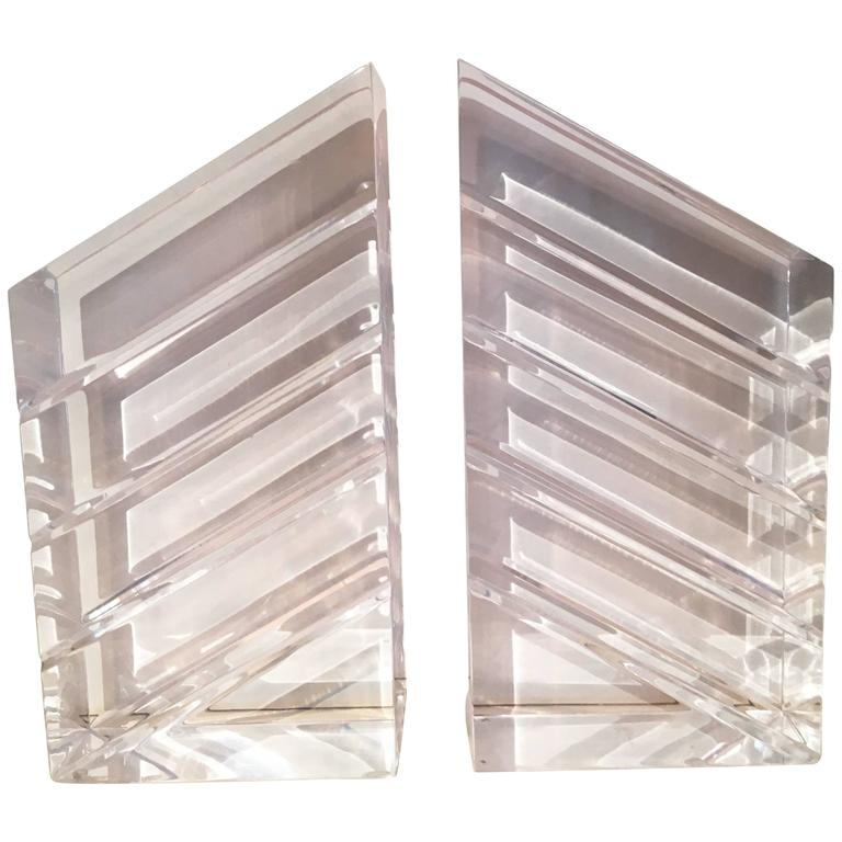 Pair of Lucite Bookends by Ritts & Co. For Sale