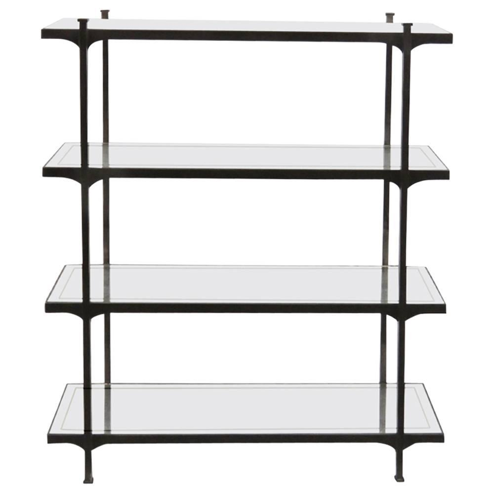 modern design iron etagere with mirrored shelves for sale at 1stdibs. Black Bedroom Furniture Sets. Home Design Ideas