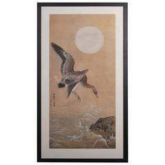 Antique Japanese Ink Painting of Geese in Flight, Dated Showa Period, 1935