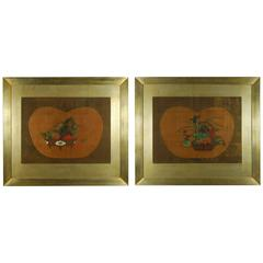 Pair of Antique Japanese Flower Paintings by Yanagisawa Kien, circa 18th Century