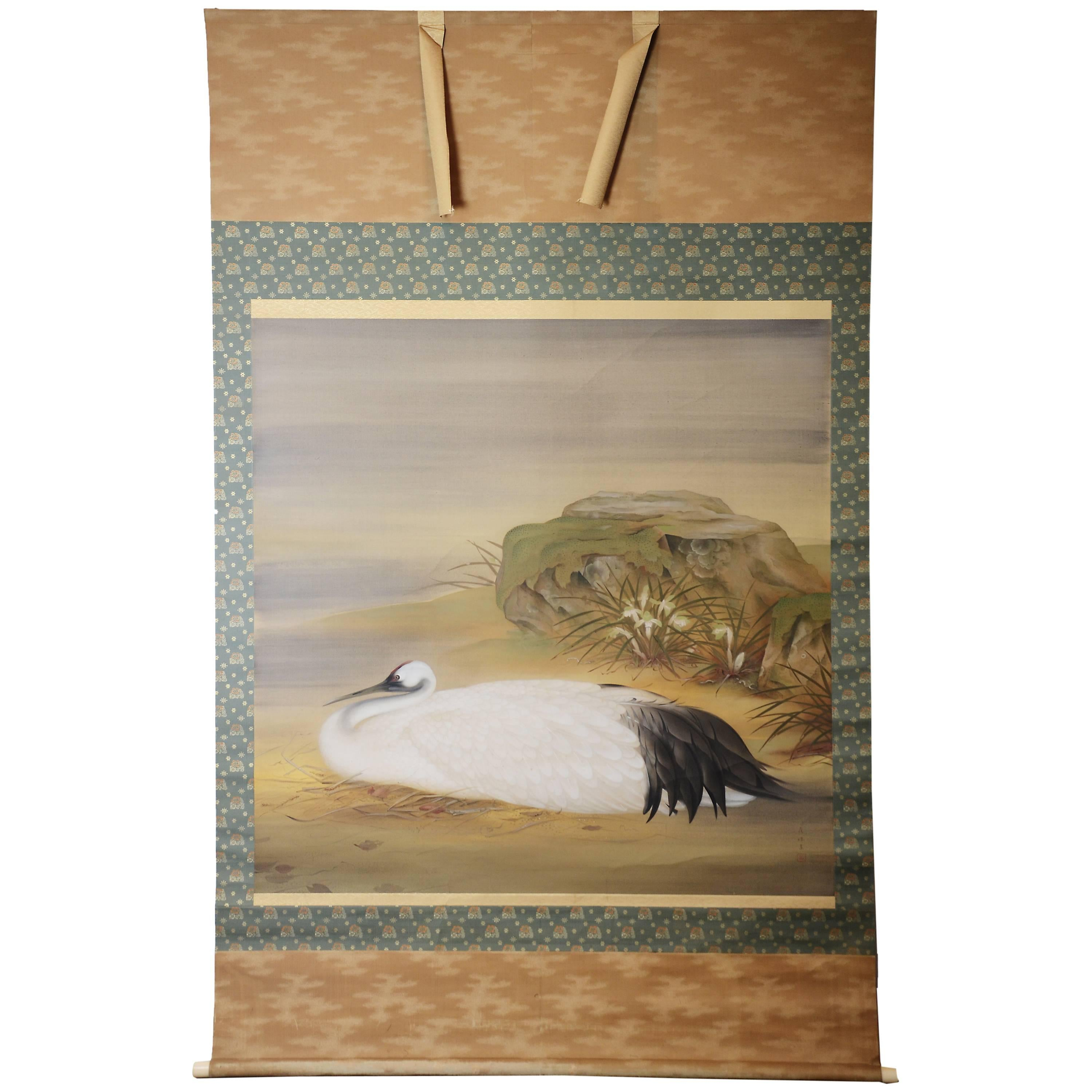 Large Antique Japanese Scroll Depicting a Nesting Crane, Taisho Period