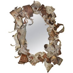 Rustic Curled Birch Bark Mirror