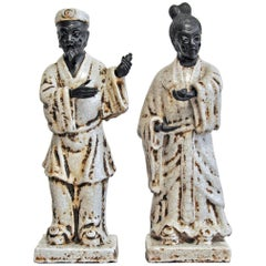 Marcello Fantoni, 1950s, Italian, Pair of Ceramic Figures