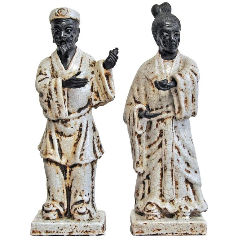 Marcello Fantoni, 1950s, Italian, Pair of Ceramic Figures For Sale