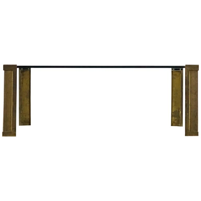 Peter Ghyczy T14 Glass Brass Coffee Table from 1970