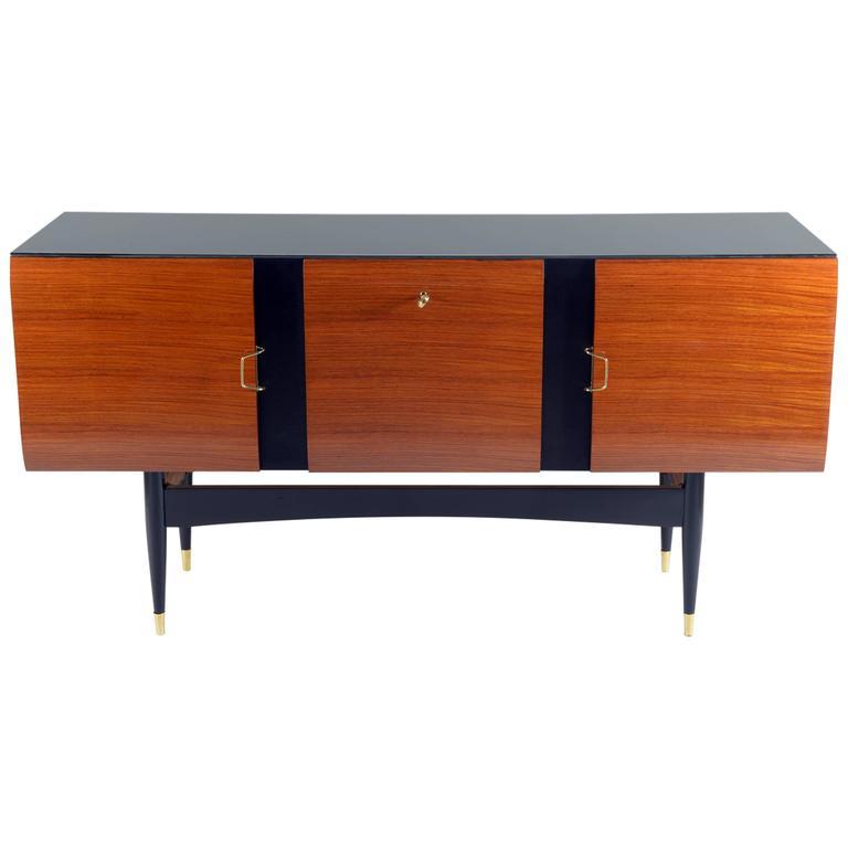 Luigi Cantu >> Italian 1950s Exotic Wood Three Doors Sideboard For Sale at 1stdibs
