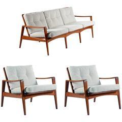 Solid Teakwood Sofa and Armchairs by Arne Wahl Iversen for Komfort, Denmark