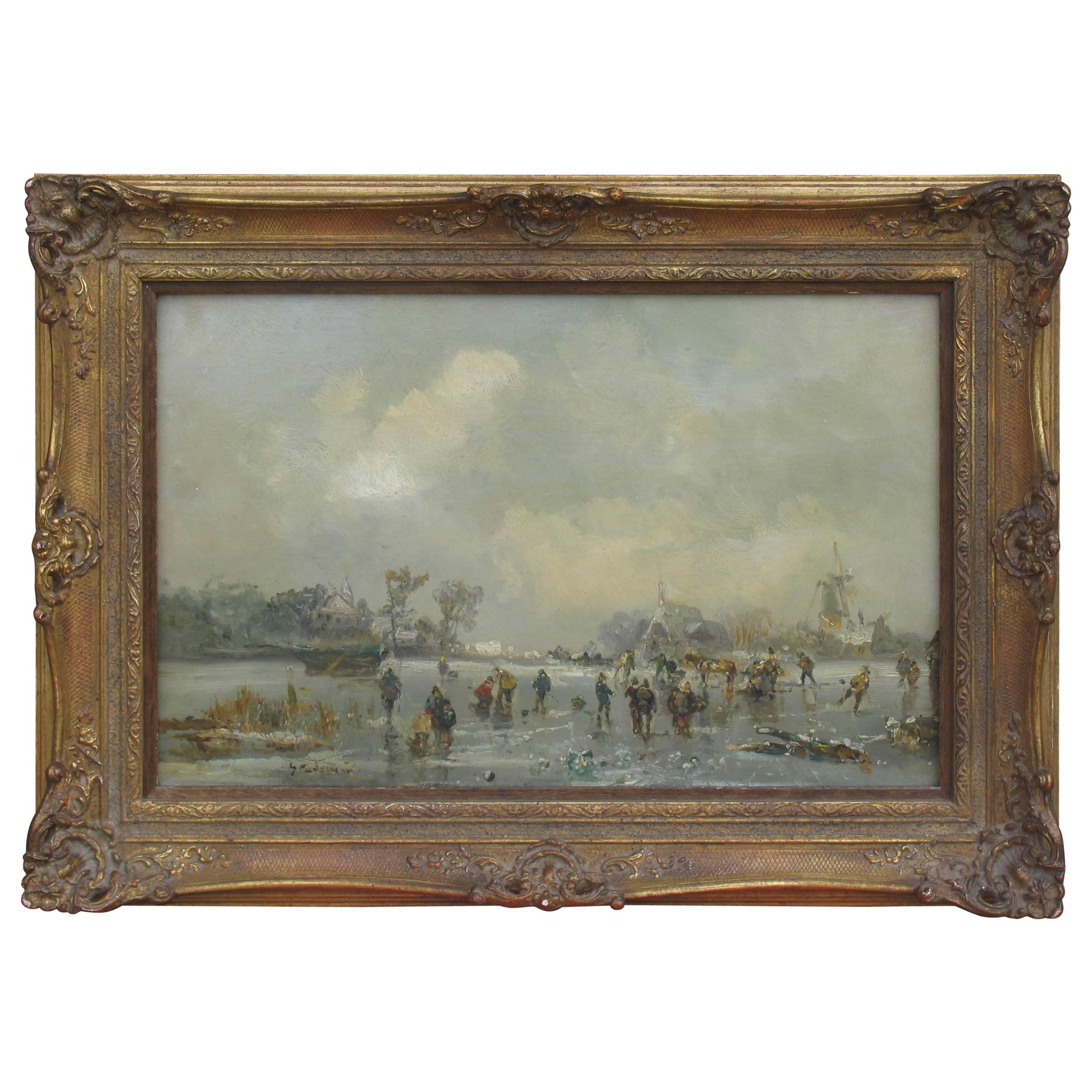 Painting of Winter Landscape by Adolf Stademann