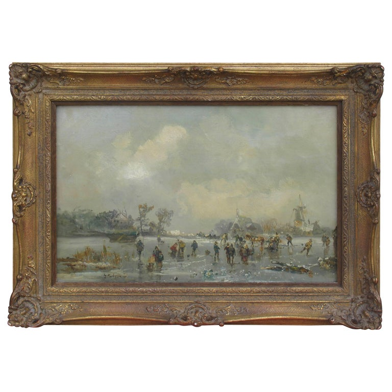 Painting of Winter Landscape by Adolf Stademann For Sale