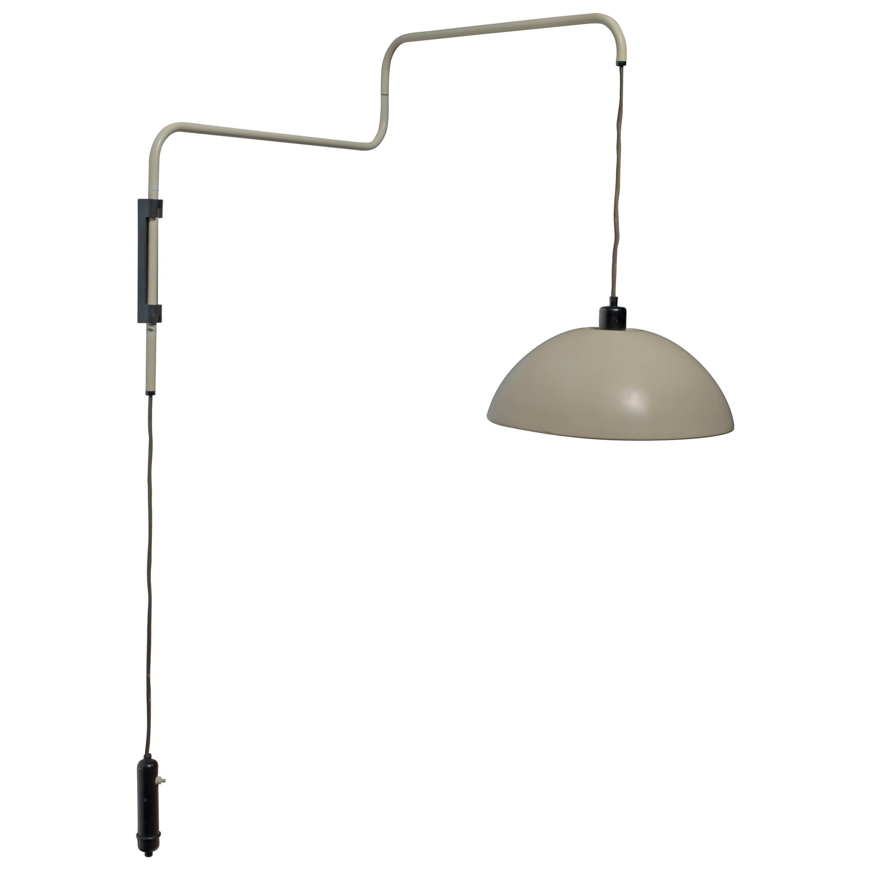 Elio Martinelli Swiveling, Height-Adjustable Wall Lamp, 1960s