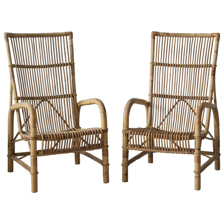 Pair of Vintage 1950s Wicker Chairs 1