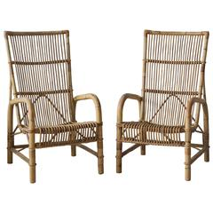 Pair of Vintage 1950s Wicker Chairs