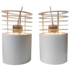 Pair of Jo Hammerborg 'Hydra 1' White Pendant Lamps for Fog & Morup, Denmark