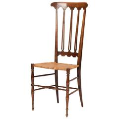 Italian Walnut Side Chair with Woven Cane Seat Chiavari, Italy, 1950