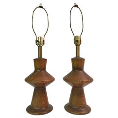 Pair of Modernist Turned Oak Table Lamps in the Manner of Jacques Grange