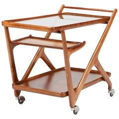 Italian Cesare Lacca Walnut Bar Cart for Cassina, 1950
