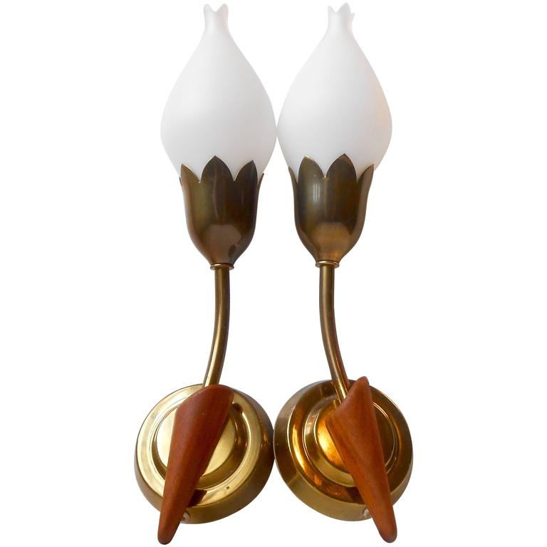 Rare Pair of 'Tulip' Wall Sconces by Fog & Mørup, Opal Glass, Teak and Brass