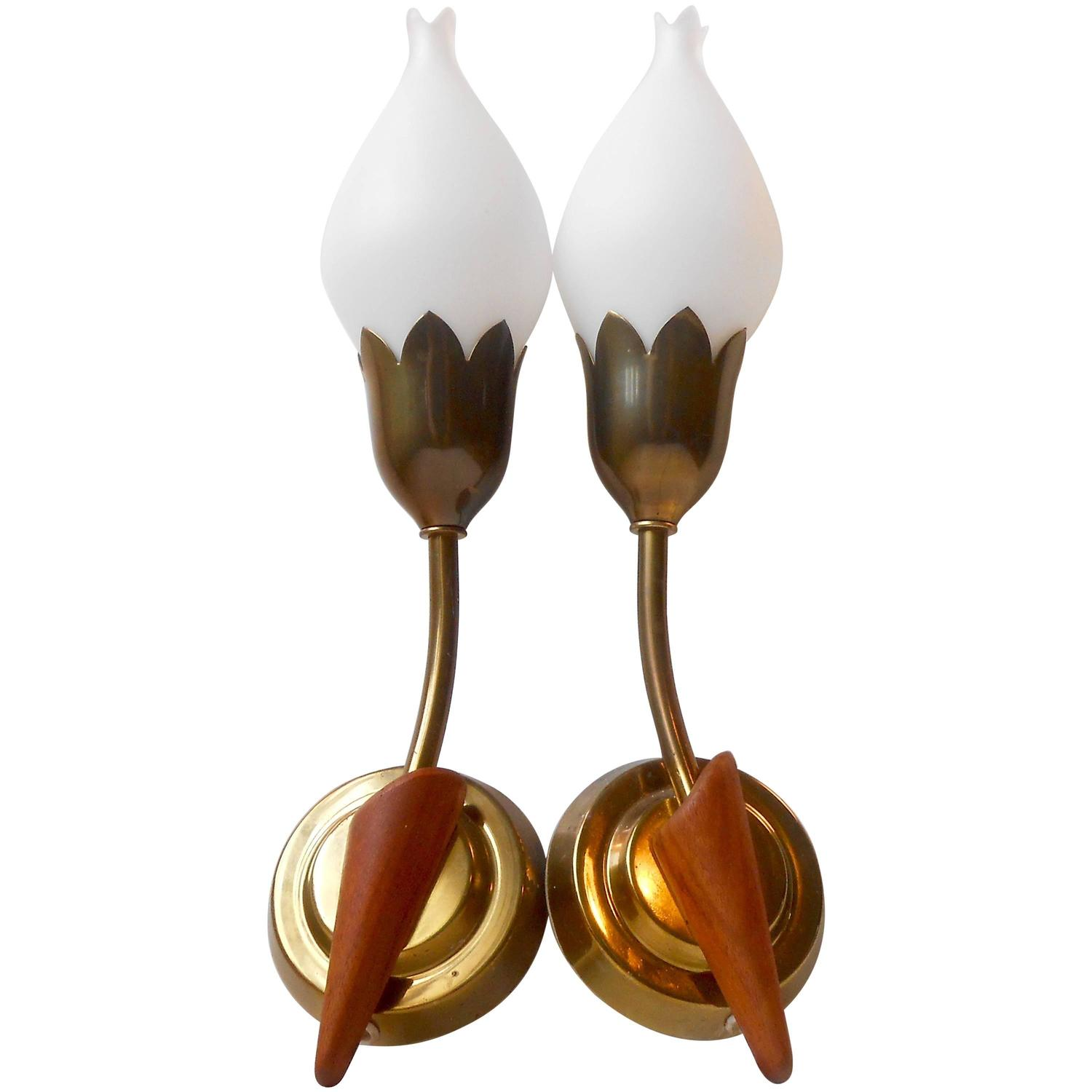 Rare Pair of Tulip Wall Sconces by Fog and M?rup, Opal Glass, Teak and Brass For Sale at 1stdibs