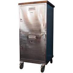 Large Industrial Polished Steel Lockable Cabinet with Casters, circa 1960s