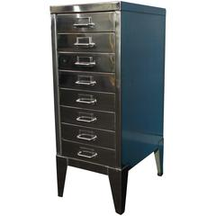 Industrial Polished Steel Filing Cabinet with Tapered Legs by Stor, circa 1950s