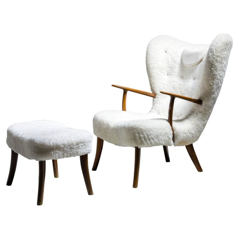 Madsen and Schübel 'Pragh' Lounge Chair with Ottoman, Denmark, 1950s