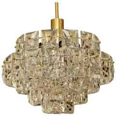Dramatic OTT Chandelier with Faceted Crystals