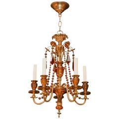 French Venetian Style Cut Amber Crystal and Bronze Chandelier with Five Arms