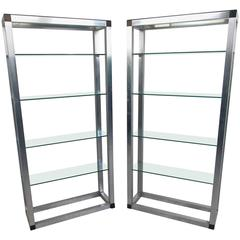 Pair of Mid-Century Etageres, Vintage Aluminum Display Shelf
