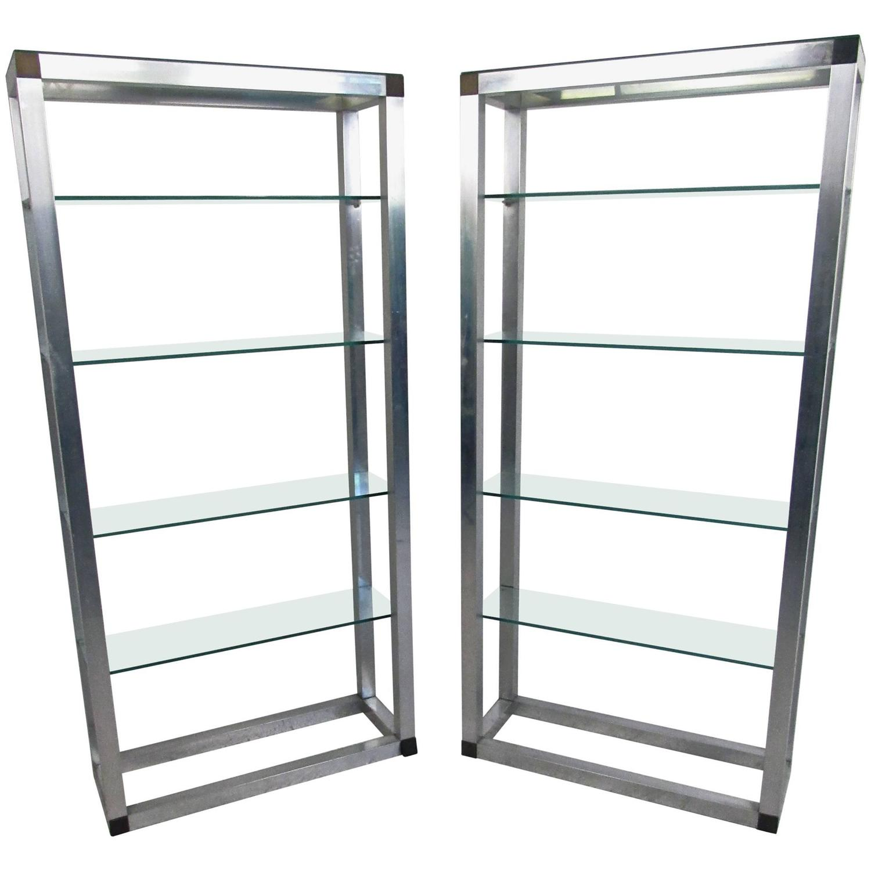 Pair of Mid-Century Etageres, Vintage Aluminum Display Shelf For ...