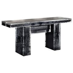Ice Burnt Console Table with Burnt Timber in Crystalline Acrylic