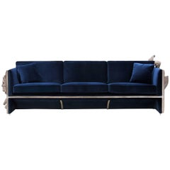 French Castle Sofa Wooden Structure and Sculpted Panels