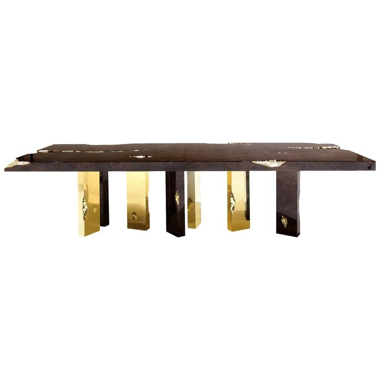 Majestic Dinning Table in Mahogany and Polished Brass Sheets For Sale