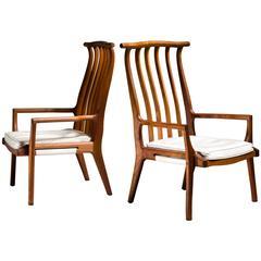 Richard Harrison Pair of Walnut Studio Lounge Chairs, USA