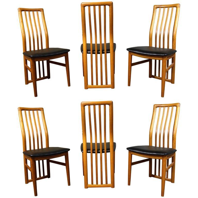 Six Kai Kristiansen Teak Dining Room Chairs For Schou Andersen Danish Modern