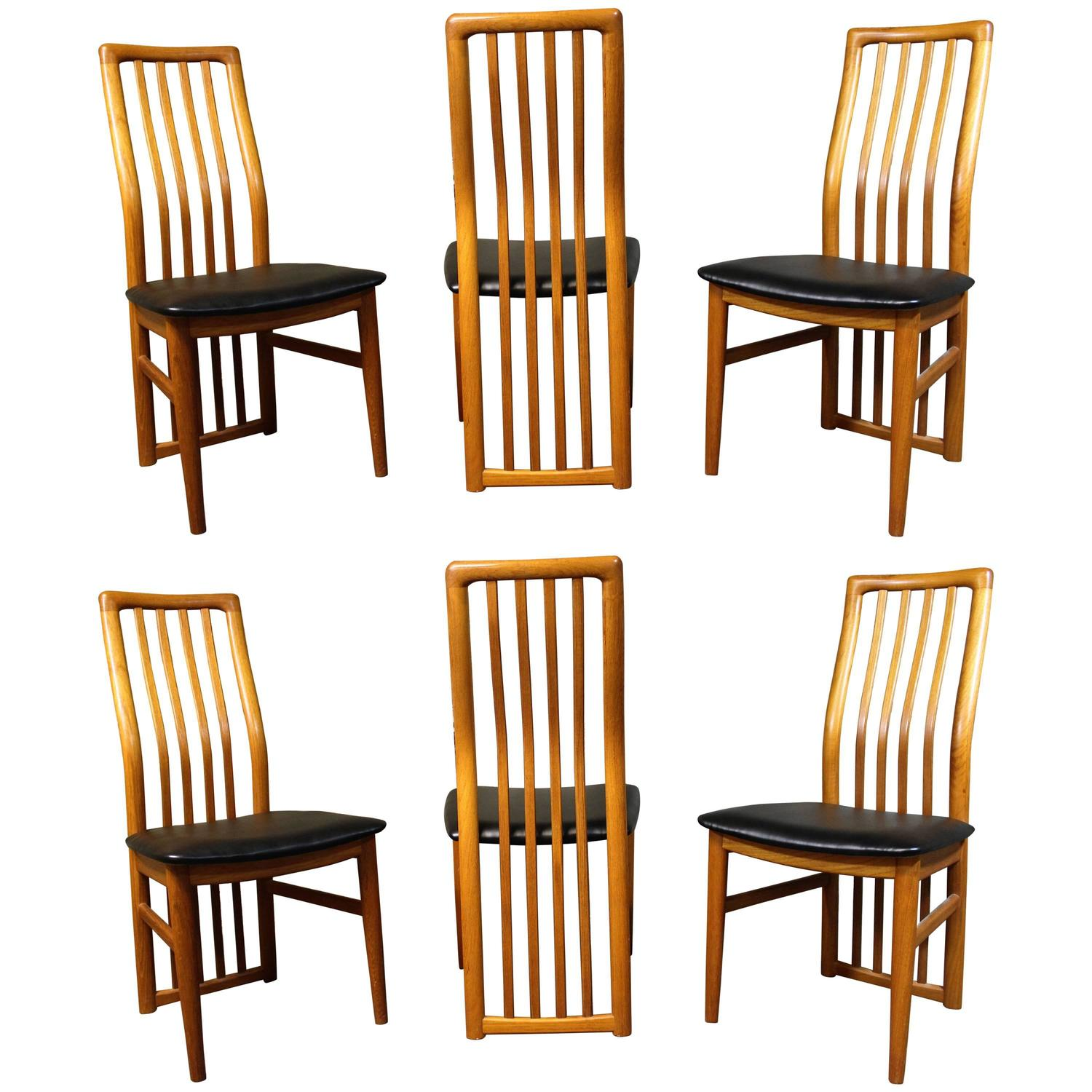 six kai kristiansen teak dining room chairs for schou andersen danish