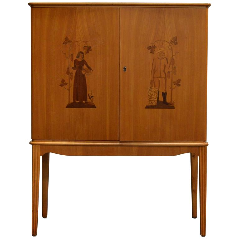 Swedish Art Deco Intarsia Storage Bar Cabinet For Sale At